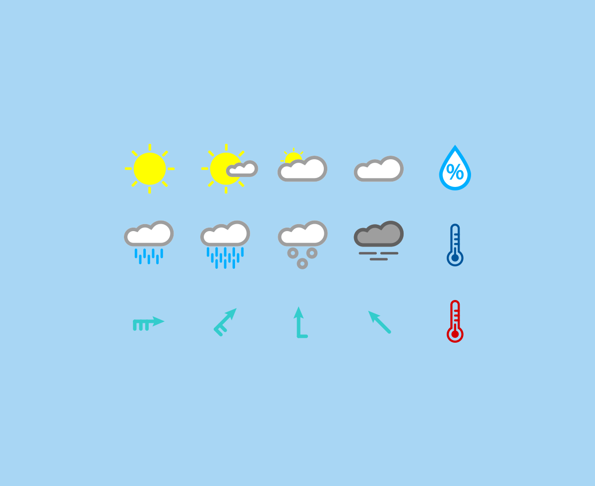 15 Colored Weather Icons