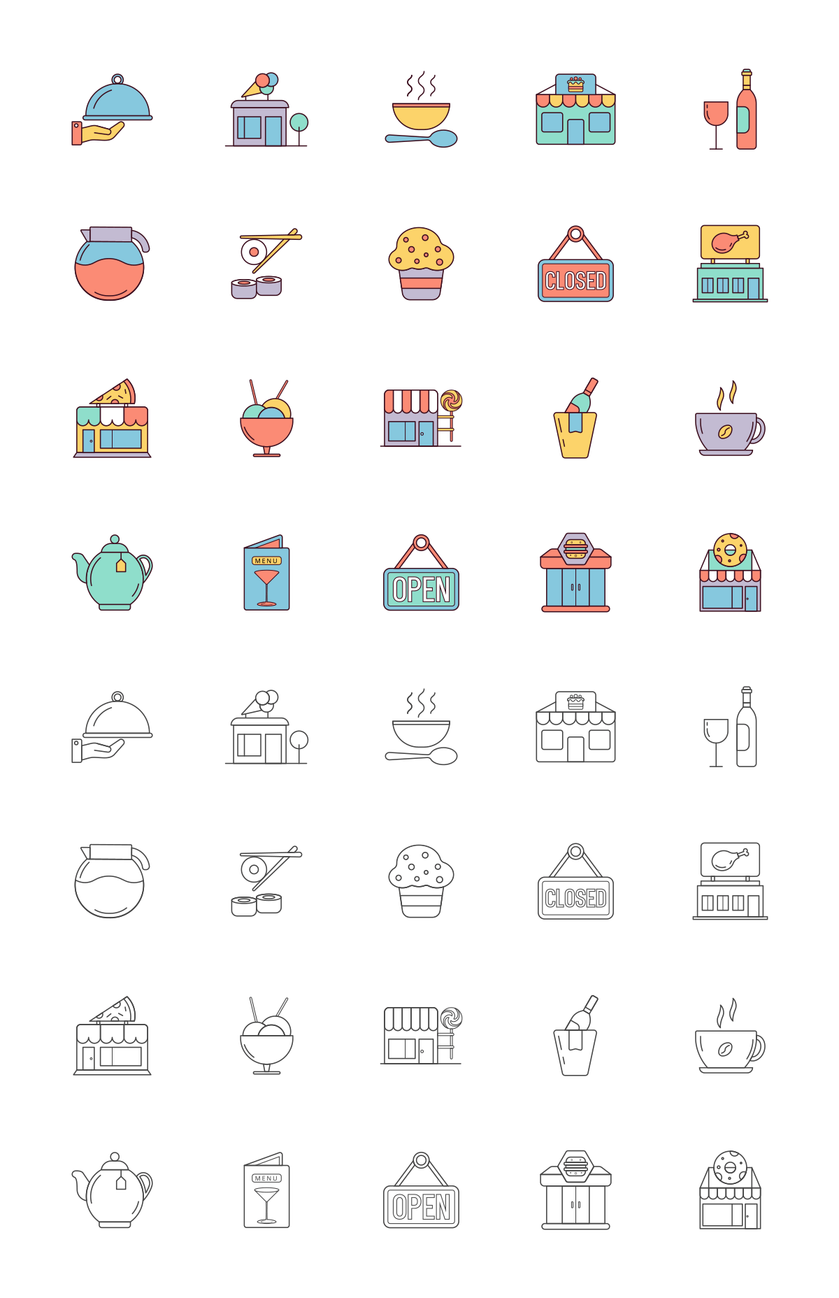 Cafes Vector Icon Set
