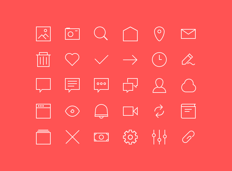2px lines 48x48px free icons