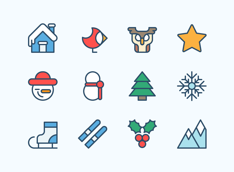 Christmas Outline Icons - Outdoor