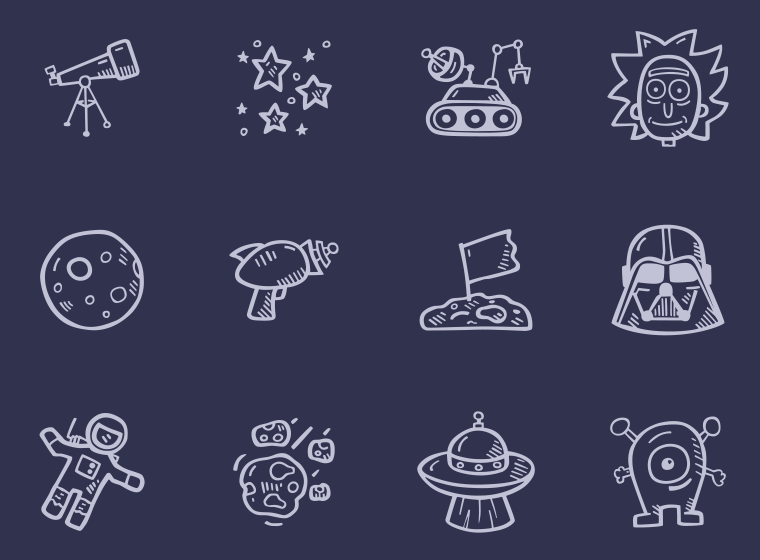 Hand Drawn Space Icons